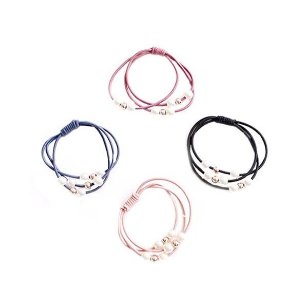 三線合一珍珠打底皮筋-韓版高彈力紮頭飾品(1入)【小三美日】髮圈/顏色隨機出貨