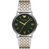 Emporio Armani 亞曼尼紳士主流手錶-綠色x雙色/41mm AR11228