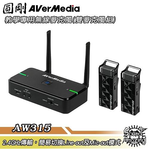 圓剛 AVerMic AW315 教學專用無線麥克風(雙麥克風組)【Sound Amazing】