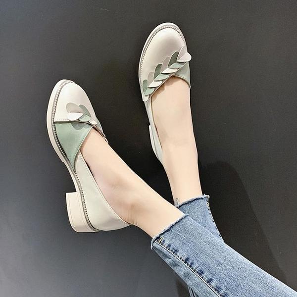 法式小高跟單鞋女2021秋季新款百搭韓版甜美仙女溫柔風粗跟奶奶鞋 3C數位百貨