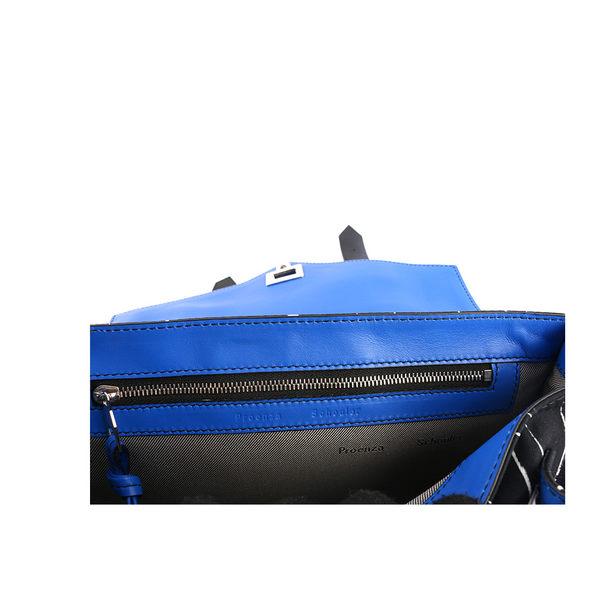【PROENZA SCHOULER】黑底白線條銀尼龍/皮革拼接(藍色提把)銀釦T H00280 F045P 8094