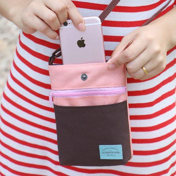 《簡單購》韓版撞色隨身迷你護照包/手機包/零錢包/背包