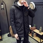 夾克外套-連帽純色中長版簡約百搭夾棉男外套2色73qa45【時尚巴黎】