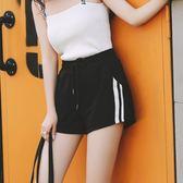 2018新款寬鬆韓版顯瘦闊腿運動短褲女夏季黑高腰百搭學生休閒熱褲夢想巴士