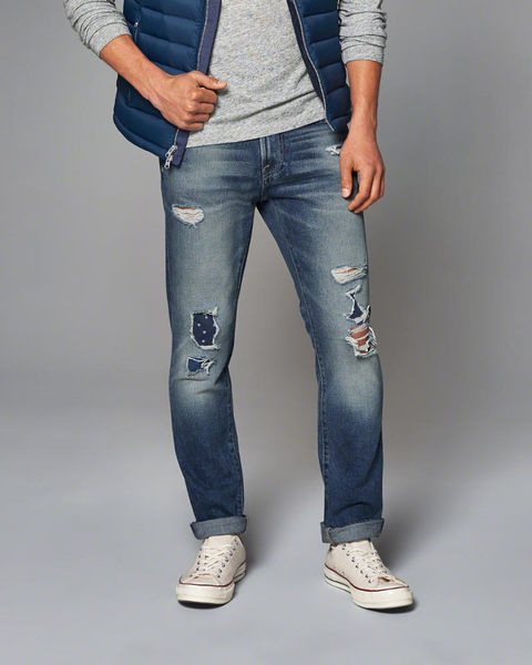 【BJ.GO】Abercrombie & Fitch_A&F_男裝_SKINNY JEANS 美國刷破緊身牛仔褲/美國官網限定款