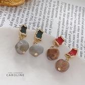 《Caroline》韓國熱賣復古壓克力不規則圓球耳環 甜美浪漫流行耳環72696