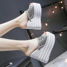 拖鞋女夏天超厚底內增高跟11cm松糕坡跟一字拖時尚性感魚嘴涼脫鞋