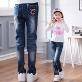 女童牛仔長褲 兒童直筒彈力內刷毛保暖休閒長褲