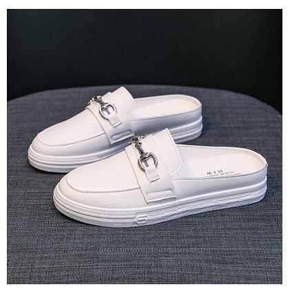 半拖鞋 包頭半拖鞋女外穿夏季新款時尚百搭網紅平底無後跟小白帆布鞋 星河光年