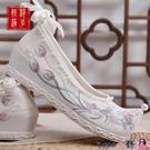 熱賣古風鞋子 漢服鞋子女2021夏季新款淡雅古風學生搭配古裝內增高明制繡花鞋女 coco