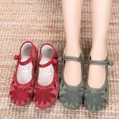 新款老北京布鞋女復古民族風繡花鞋軟底防滑舒適平底媽媽鞋漢服鞋