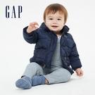 Gap嬰兒 溫暖直筒短大衣長袖鋪棉夾克 348505-海軍淺藍