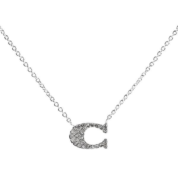 【COACH】C Logo水鑽項鍊(銀色) 91433 SLV