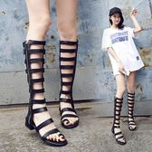 鏤空長靴女夏季新款平底百搭羅馬涼靴性感網紅女靴高筒涼鞋潮-薇格嚴選