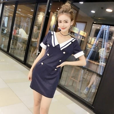 洋裝-雙排扣海軍風時尚修身顯瘦女連身裙73hd75【時尚巴黎】