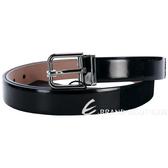DOLCE & GABBANA 黑色拼接設計漆皮素面腰帶 1330226-01