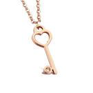 【5折超值價】 【316L西德鈦鋼】最新款時尚精美玫瑰金心型鑰匙愛心造型女款鈦鋼項鍊