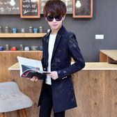 小西裝男韓版中長款外套青少年學生印花修身帥氣上衣男士休閒西服 萬聖節