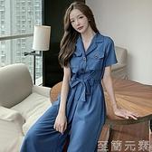 洋裝 大碼氣質OL通勤西裝連體褲胖mm收腰顯瘦胖妹妹女裝網紅洋裝夏裝 至簡元素