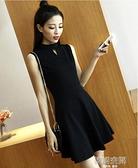 黑色無袖背心裙2021新款夏吊帶洋裝中長款打底韓版收腰顯瘦裙子連身裙