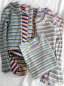 條紋打底衫 2021年新款彩虹條紋長袖T恤女裝春秋打底衫內搭短款上衣夏季百搭 歐歐