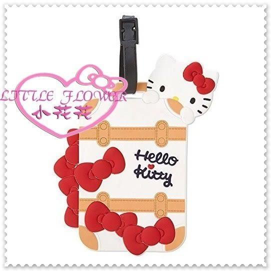 小花花日本精品♥Hello Kitty 軟質矽膠可調整式 立體行李掛牌吊牌 趴姿行李箱造型 42141709