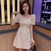 2020夏季新款方領收腰裙子法式白色短裙小個子顯瘦A字連身裙女裝 藍嵐