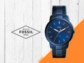 【時間道】FOSSIL經典簡約超薄型腕錶 /全深藍霧鋼帶 (FS5461)免運費
