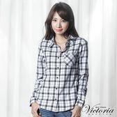 Victoria 格紋基本長袖襯衫-女