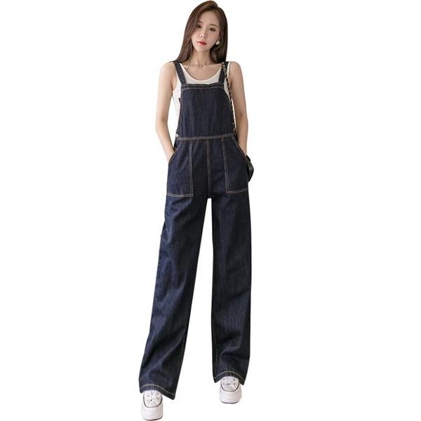 限時特價 網紅牛仔背帶褲女夏季新款時尚高腰闊腿褲寬松顯瘦減齡連體褲