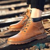 馬丁靴子男士防水耐磨英倫風大黃鞋子中幫皮鞋