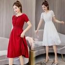 酒紅色洋裝 洋氣白色女仙氣質連身裙燈籠袖高腰很仙短袖一字肩裙子-Ballet朵朵
