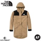 【The North Face 女 DV防風防水中長連帽外套《卡其》】4U9O/衝鋒衣/防水外套/風雨衣