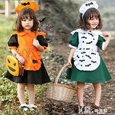 兒童橙色蝙蝠印花女仆服萬聖節服裝南瓜cosplay服鬼節主題派對裝 Korea時尚記