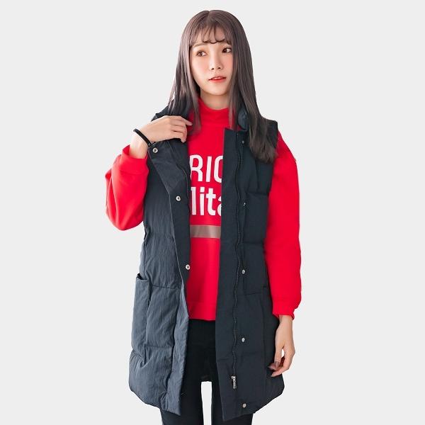 馬甲--時尚保暖立領防風拉鍊口袋寬鬆長版羽絨棉背心外套(黑.藍L-3L)-J267眼圈熊中大尺碼