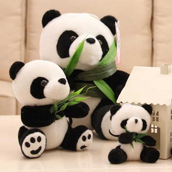 3個 仿真玩具抱竹子小熊貓公仔黑白抱抱熊毛絨玩具【雲木雜貨】