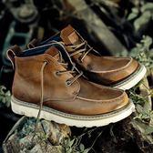 工裝靴男秋冬季男士方頭靴子英倫風復古短靴