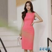 2020夏季新款女裝OL名媛氣質修身雪紡無袖洋裝職業一步包臀裙XL3532【男神港灣】