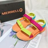 《7+1童鞋》中大童 MERRELL 織帶輕量 運動涼鞋 E175 橘色