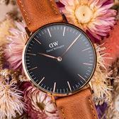 DW Daniel Wellington Classic DW00100138 36mm 棕色 手錶 金框