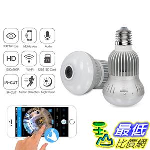 [106美國直購] Jiusion Fisheye 360 Degree HD Wireless WIFI IP Hidden Panoramic Camera Spy Cam 960P