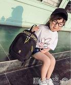 潮字母簡約小孩書包新款時尚男女童雙肩包兒童旅游包學生輕便背包YXS  潮流衣舍