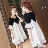 雪紡孕婦裙時尚2019新款夏天假兩件套裝上衣孕婦連衣裙JA4217『麗人雅苑』