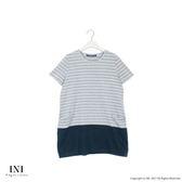 【INI】休閒造型、百搭條紋小口袋長版棉質上衣.灰色