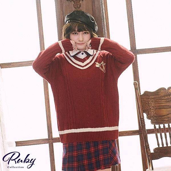 上衣 學院風V領麻花長版針織長袖上衣-Ruby s 露比午茶