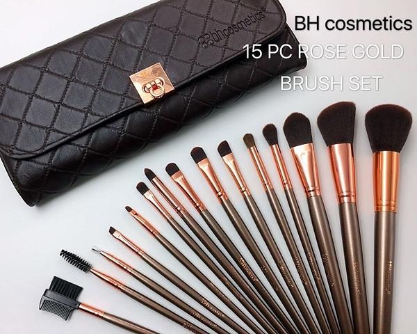 美國專業彩妝品牌BH cosmetics ROSE GOLD BRUSH SET15件奢華玫瑰金款化妝刷具組