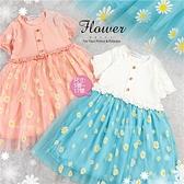 木釦小花朵網紗短袖洋裝-2色(310265)【水娃娃時尚童裝】