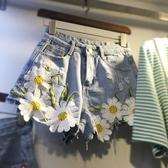 新品大碼繡花宅女牛仔短褲寬鬆闊腿熱褲子女夏 - 歐美韓熱銷