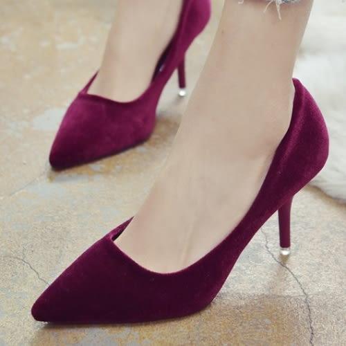 高跟鞋.韓版簡約氣質尖頭絨面高跟鞋.白鳥麗子