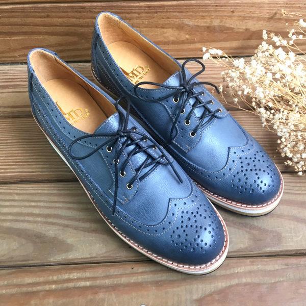 雕花鞋 台灣手工製造真皮厚底雕花皮鞋 文青 上班族 正式場合 LaoMeDea 焦臘藍黑色